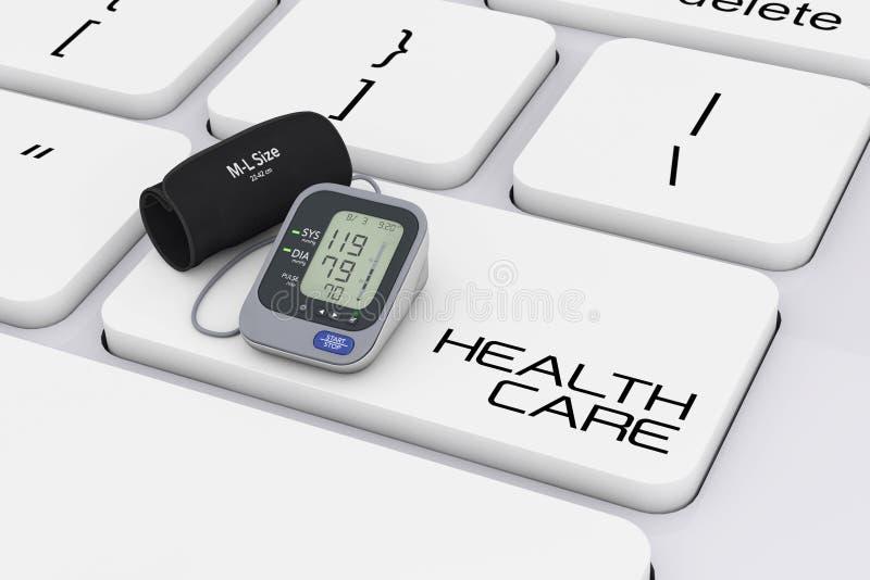 Monitor de la presión arterial de Digitaces con el puño sobre el teclado de ordenador stock de ilustración