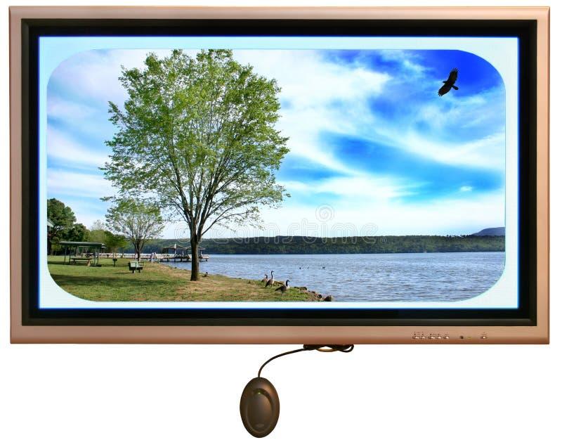 Monitor de visualización en el centro del visitante del parque público en Arkansas stock de ilustración