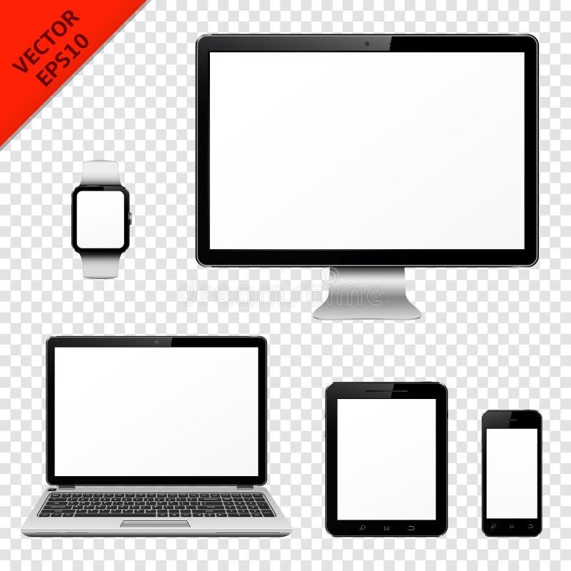 Monitor del computer, computer portatile, pc della compressa, telefono cellulare ed orologio astuto con lo schermo in bianco royalty illustrazione gratis