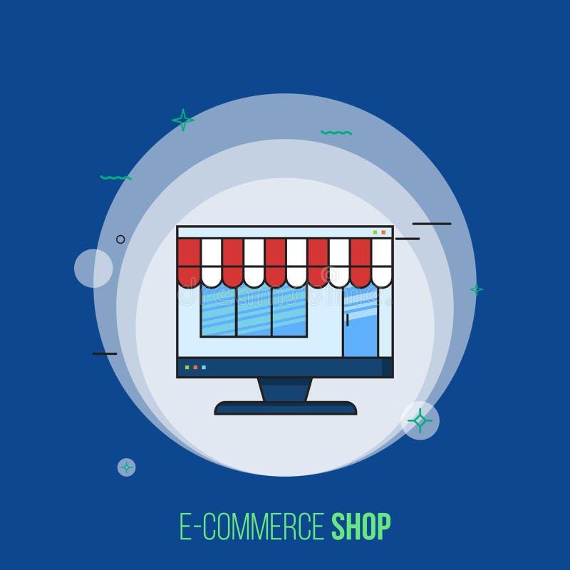 Monitor del computer con il negozio di commercio, deposito illustrazione vettoriale