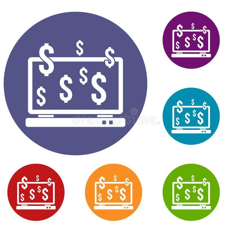 Monitor del computer ed icone dei simboli di dollaro messe illustrazione di stock