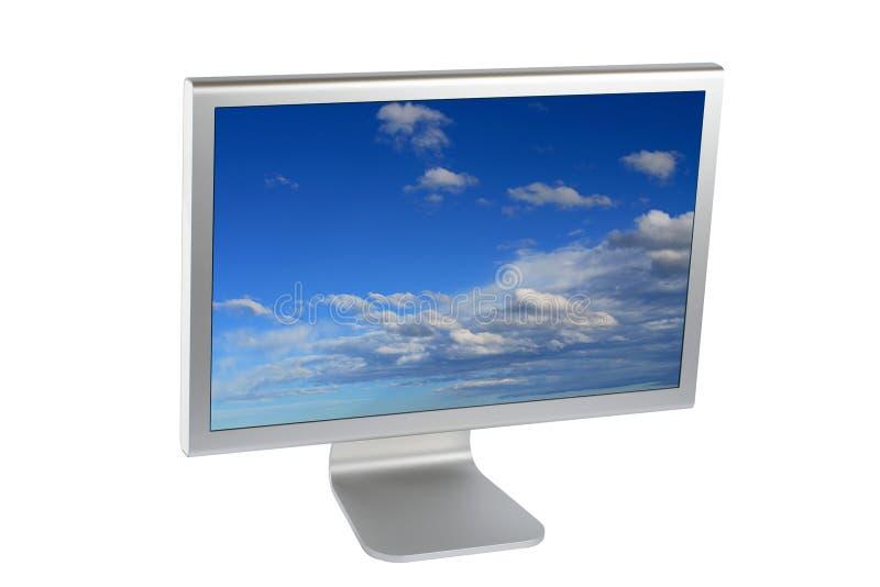 Monitor del ordenador del lcd de la pantalla plana imagenes de archivo