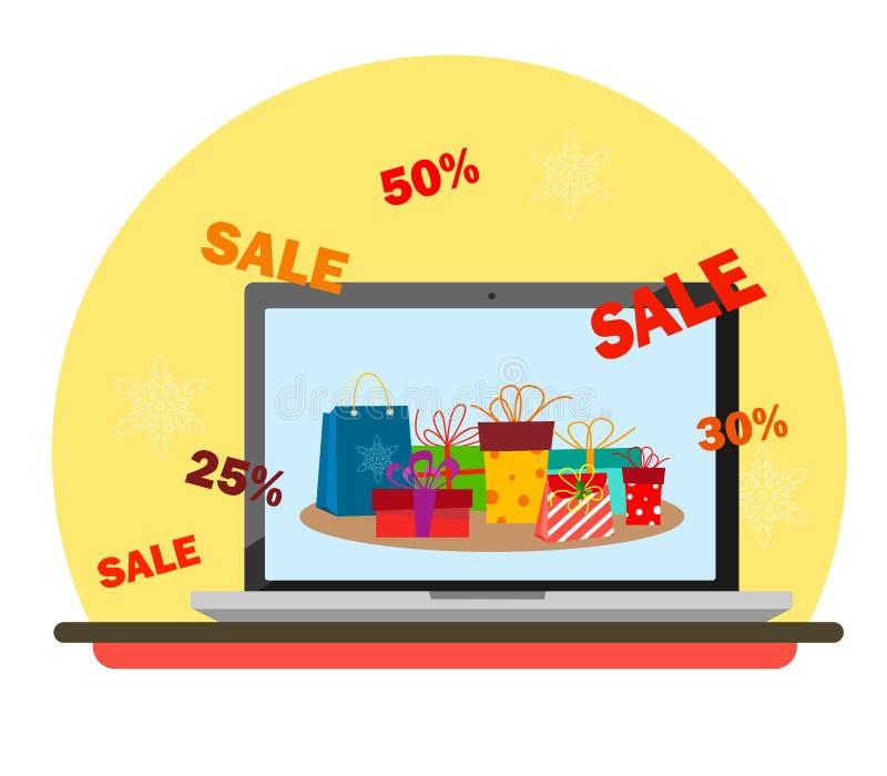Monitor del ordenador portátil con los regalos en la pantalla y los descuentos de la Navidad en el estilo del plano libre illustration
