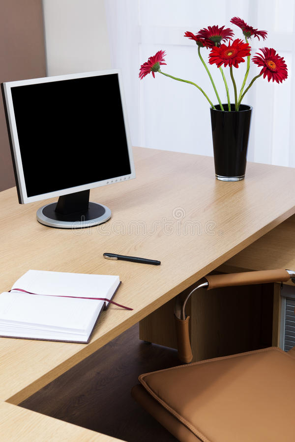 Download Monitor on a desk stock image. Image of armchair, gerbera - 23224847