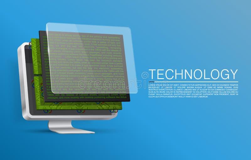 Monitor desmontado para sobressalentes ilustração do vetor