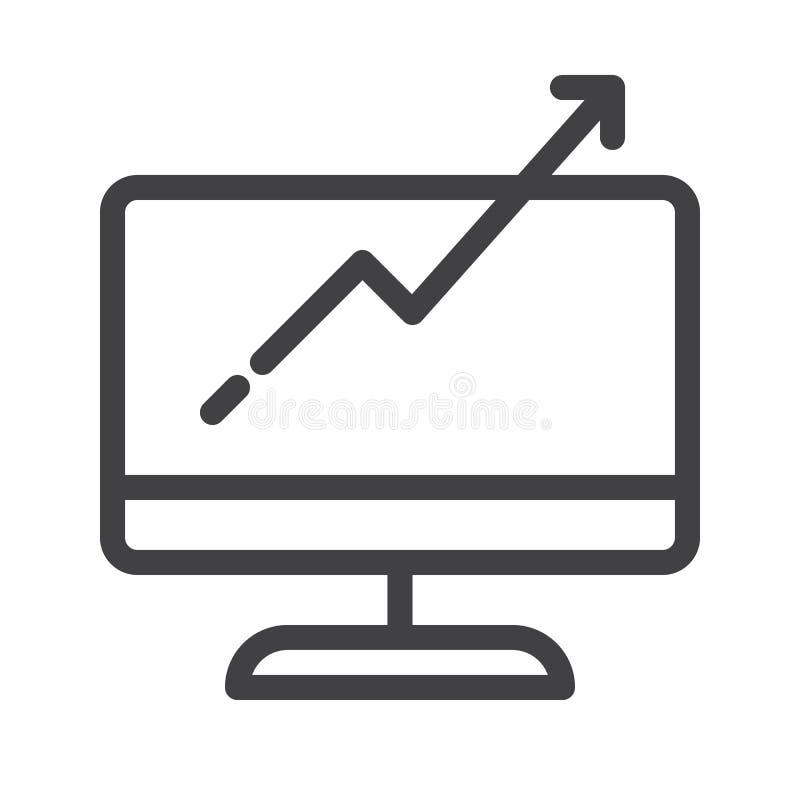 Monitor do computador com linha de carta crescente ícone do gráfico de negócio ilustração royalty free