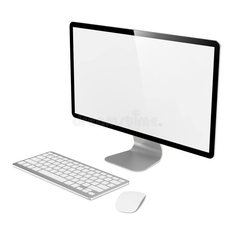 Monitor do computador com rato e teclado. ilustração royalty free