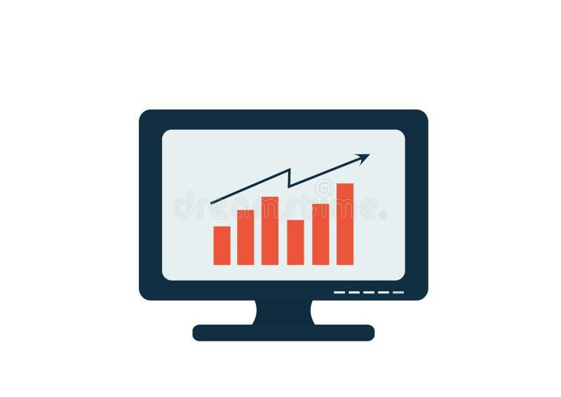 Monitor do computador com símbolo da tecnologia da carta ilustração royalty free
