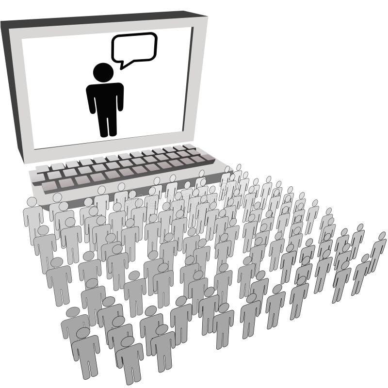Monitor do computador do relógio dos povos da audiência da rede ilustração do vetor