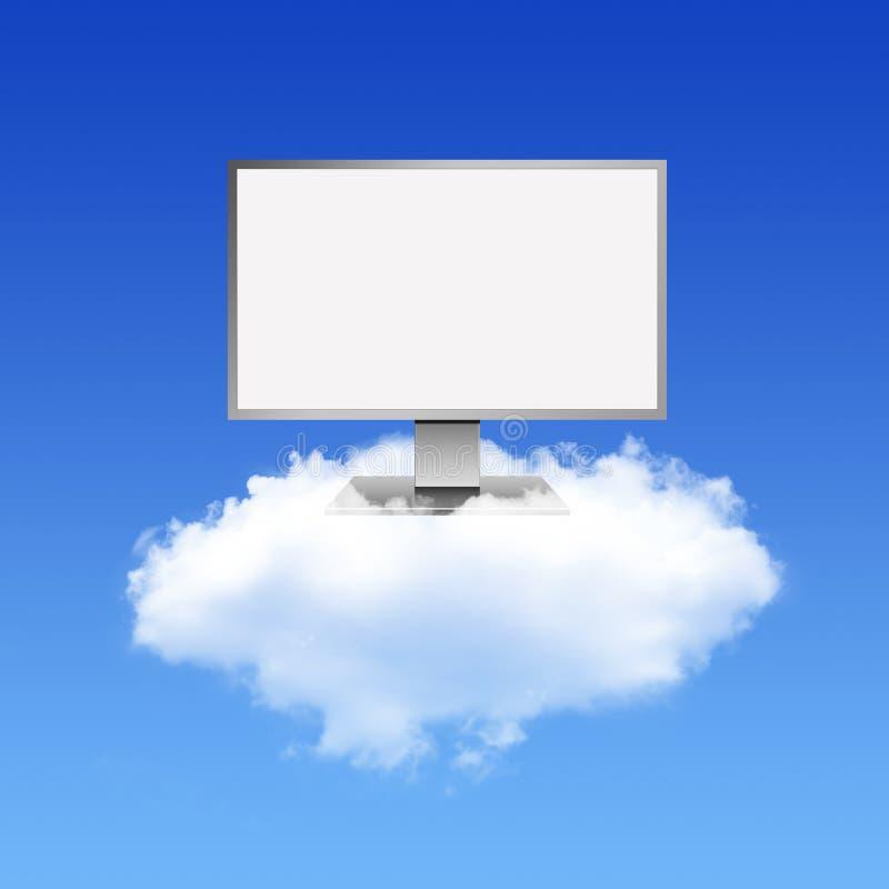 Monitor do computador na rede de computação da nuvem ilustração do vetor