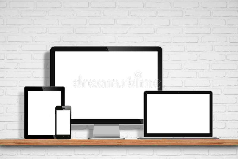 Monitor do computador, portátil, PC da tabuleta e telefone celular imagem de stock