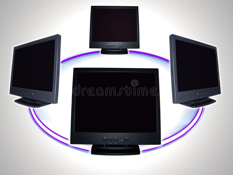 Monitor do computador - rede informática fotografia de stock