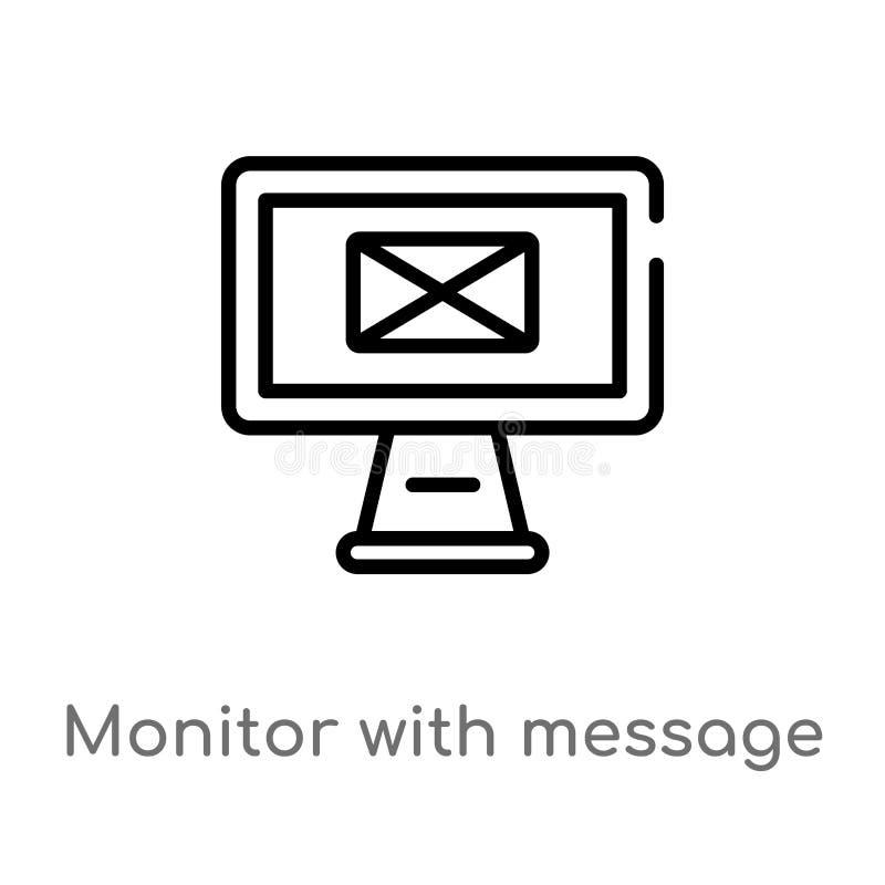 monitor do esboço com saída dos envelopes da mensagem do ícone do vetor da tela linha simples preta isolada ilustração do element ilustração do vetor