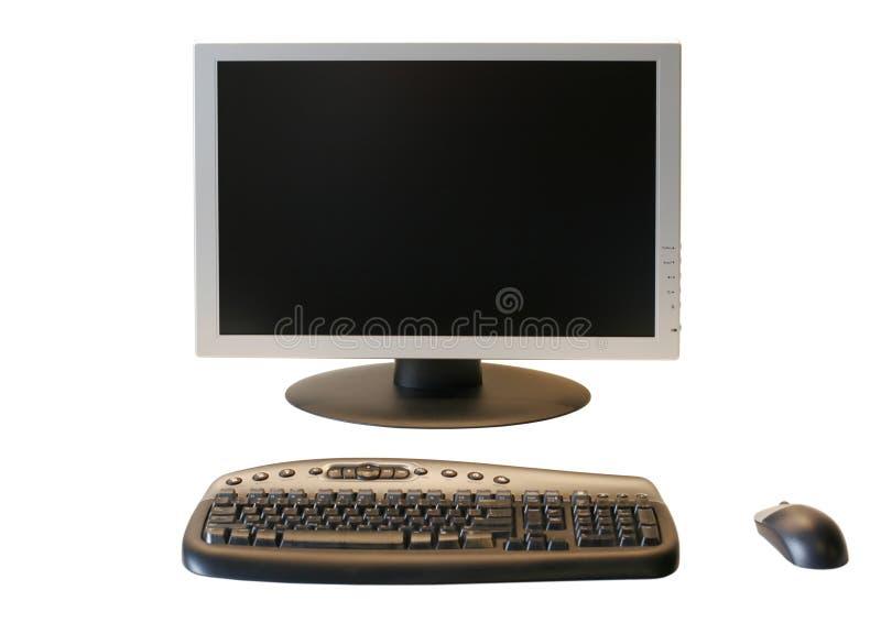 Monitor do LCD da tela larga com teclado e o rato sem fio imagens de stock