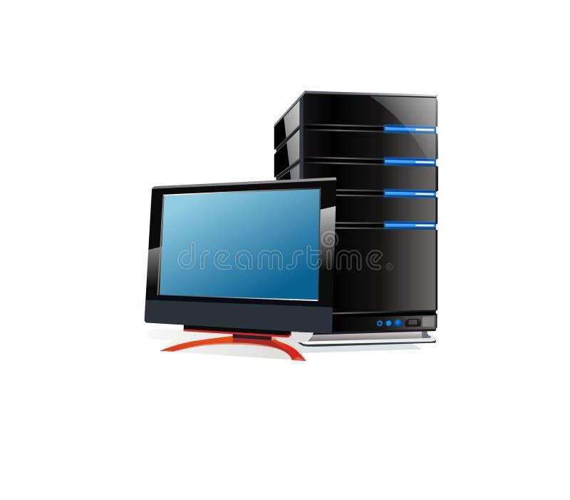 Monitor do LCD e processador central ilustração royalty free