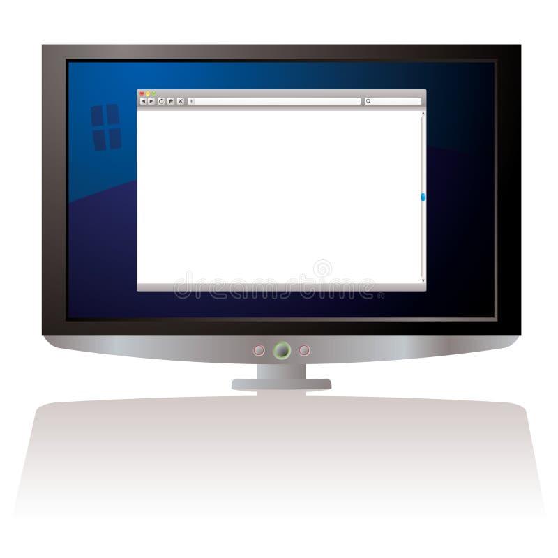 Monitor do web browser do LCD ilustração royalty free