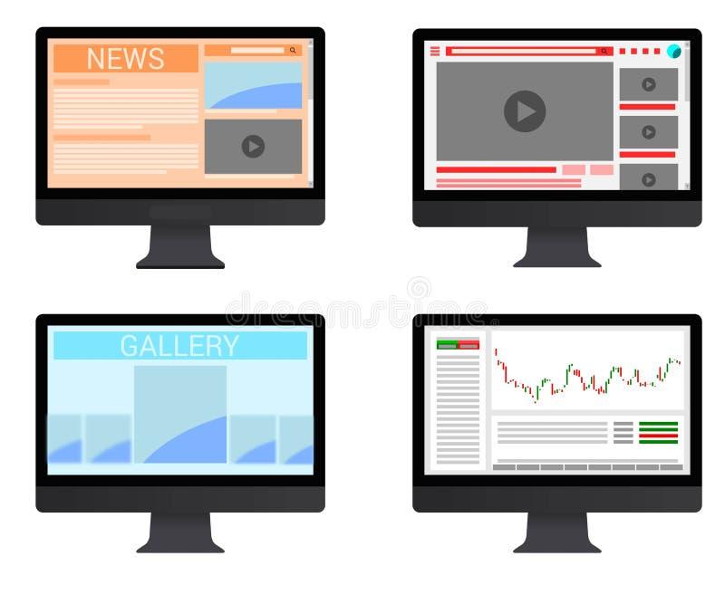 Monitor dos telas de computador do vetor ilustração stock
