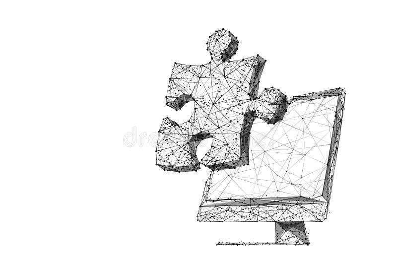 Monitor e ponto baixo do enigma poli ilustração royalty free