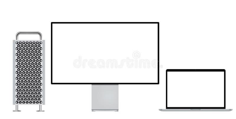 Monitor e portátil modernos do computador para o modelo ilustração stock