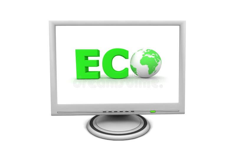 Monitor Eco de la pantalla plana del LCD ilustración del vector
