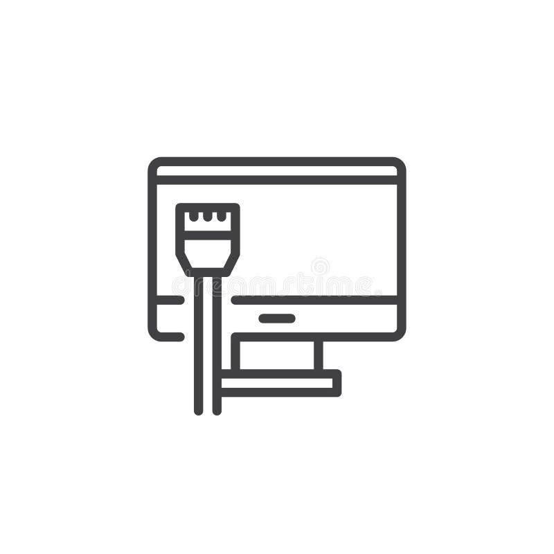 Monitor en Netwerk het pictogram van het kabeloverzicht royalty-vrije illustratie