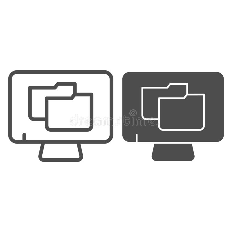 Monitor with folder line and glyph icon. File folder on pc vector illustration isolated on white. Computer folder. Outline style design, designed for web and vector illustration