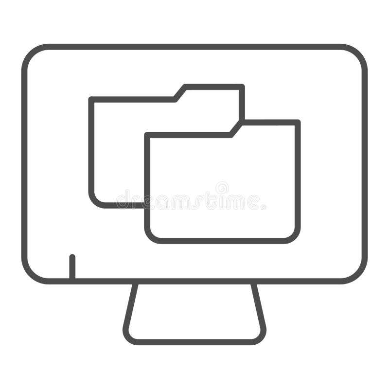 Monitor with folder thin line icon. File folder on pc vector illustration isolated on white. Computer folder outline. Style design, designed for web and app vector illustration