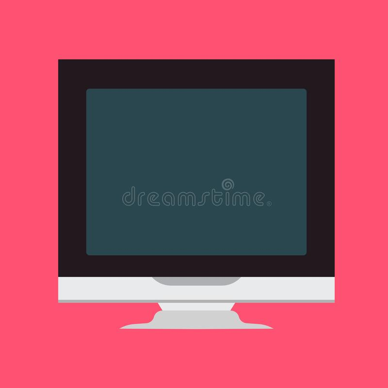 Monitor front view screen computer equipment vector icon. Electronic communication technology work office PC vector illustration