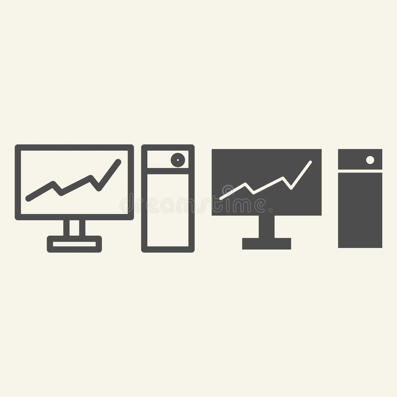 Monitor with graph on the screen line and glyph icon. Chart on pc vector illustration isolated on white. Diagram on royalty free illustration