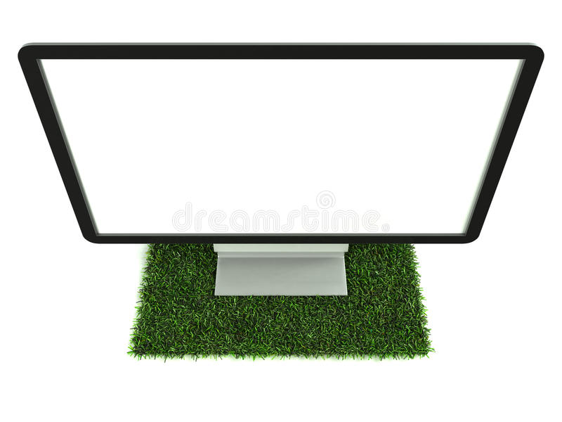Monitor On Grass Top View Stock Photography