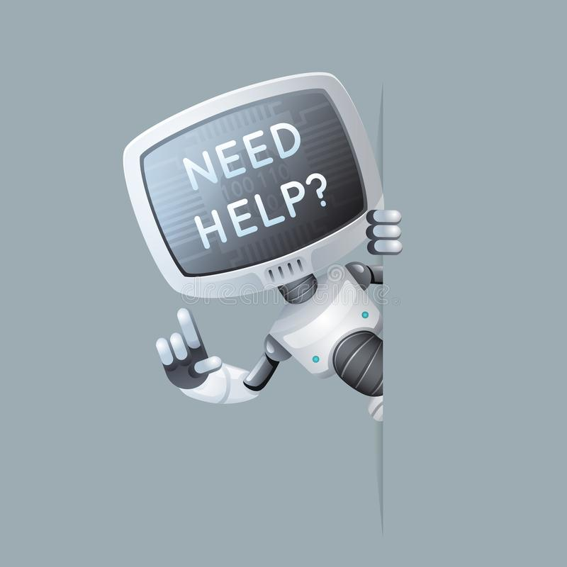 Monitor head robot look out corner online help technology science fiction future cute little sale 3d design vector royalty free illustration