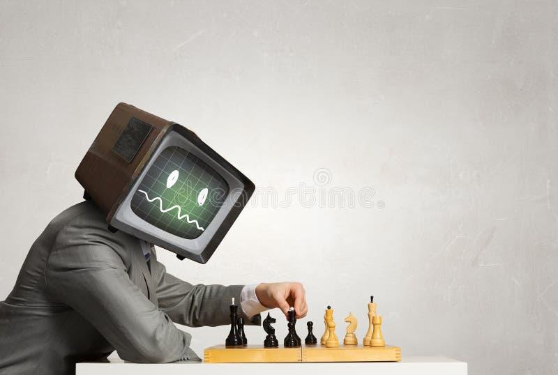 Monitor headed businessman . Mixed media royalty free stock photos