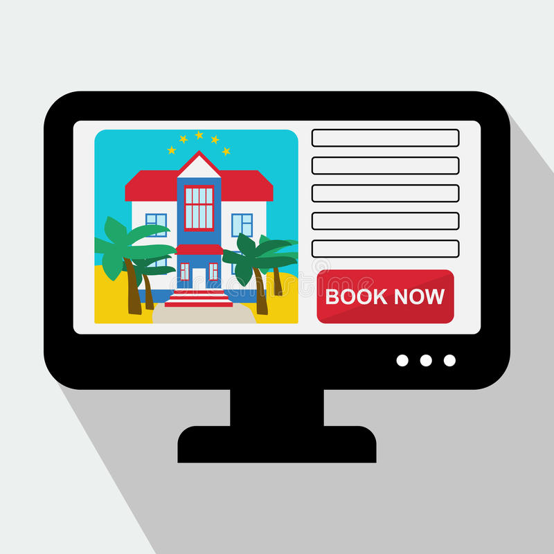 Monitor with Hotel Website. Book Now. Vector Illustration. In Flat Style vector illustration