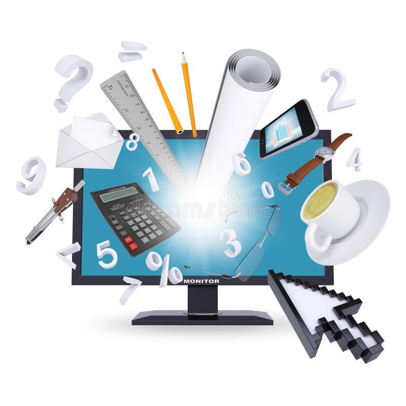 Monitor i biurowe dostawy ilustracja wektor