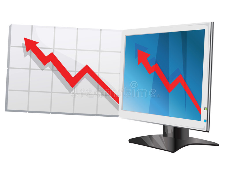 Monitor icon. Monitor and chart, arrow icon royalty free illustration