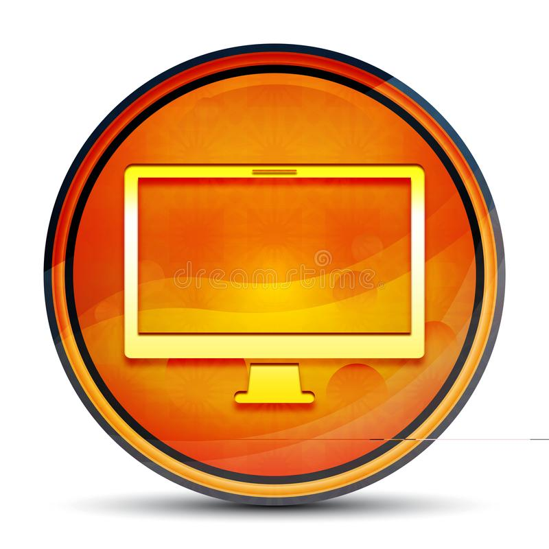 Monitor icon shiny bright orange round button illustration stock image