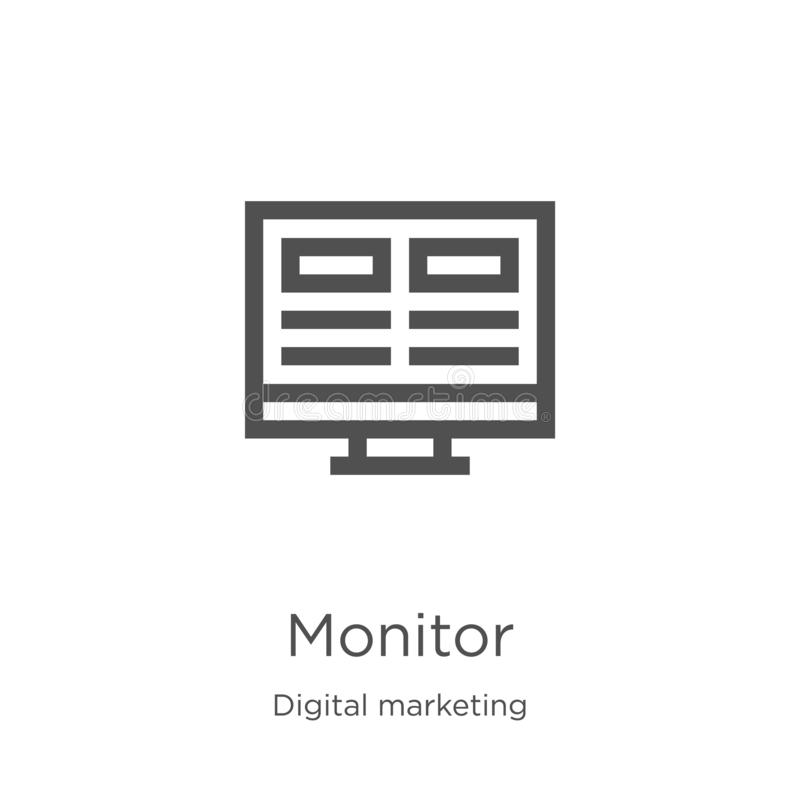 monitor icon vector from digital marketing collection. Thin line monitor outline icon vector illustration. Outline, thin line vector illustration