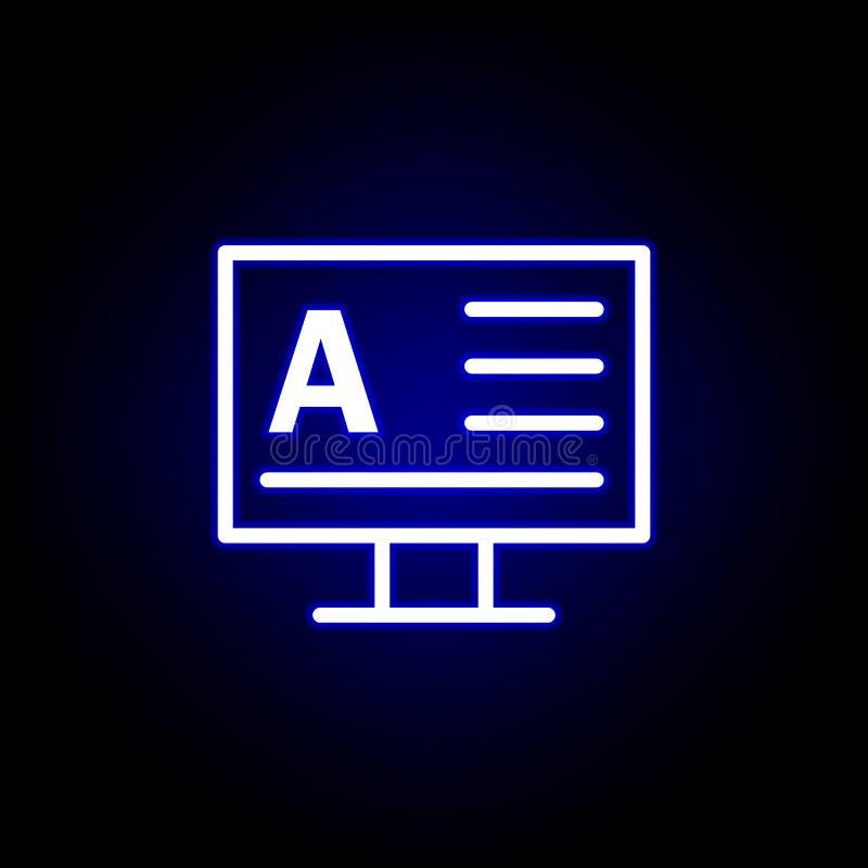 Monitor, icono de la palabra A en el estilo de neón Puede ser utilizado para la web, logotipo, app m?vil, UI, UX ilustración del vector