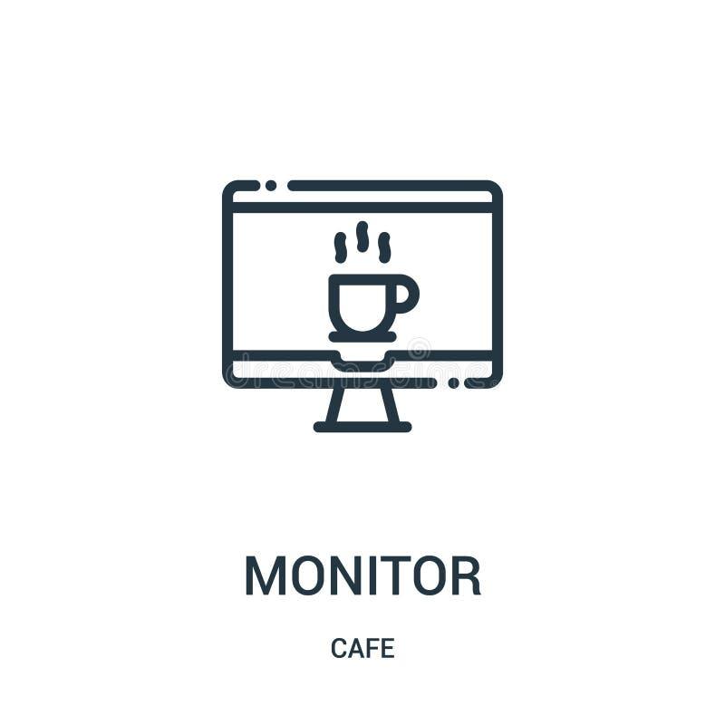 monitor ikony wektor od cukiernianej kolekcji Cienieje kreskowego monitoru konturu ikony wektoru ilustracj? Liniowy symbol royalty ilustracja