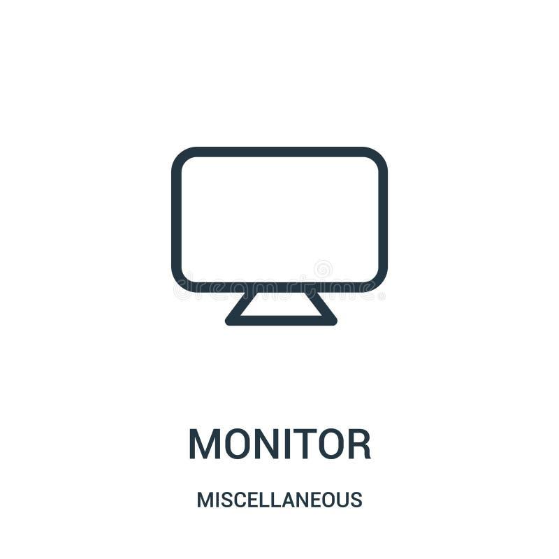 monitor ikony wektor od różnej kolekcji Cienieje kreskowego monitoru konturu ikony wektoru ilustrację Liniowy symbol dla używa da royalty ilustracja