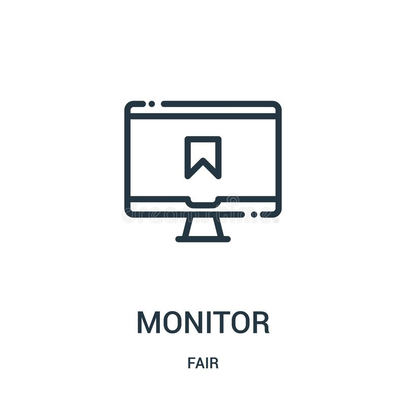 monitor ikony wektor od uczciwej kolekcji Cienieje kreskowego monitoru konturu ikony wektoru ilustrację Liniowy symbol dla używa  ilustracji