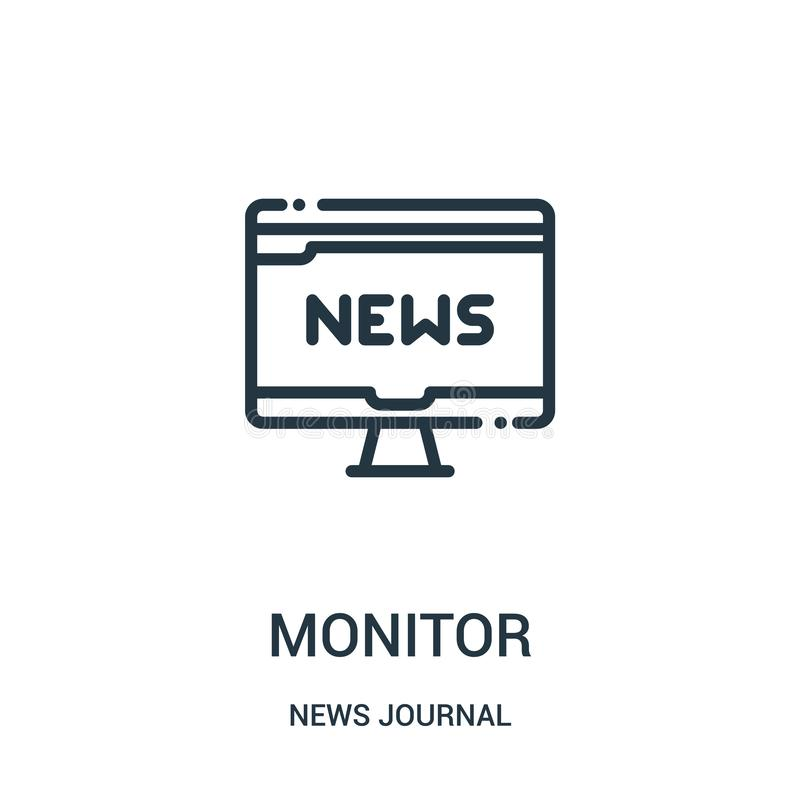 monitor ikony wektor od wiadomości czasopisma kolekcji Cienieje kreskowego monitoru konturu ikony wektoru ilustrację Liniowy symb ilustracji