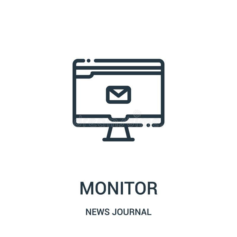 monitor ikony wektor od wiadomości czasopisma kolekcji Cienieje kreskowego monitoru konturu ikony wektoru ilustrację Liniowy symb royalty ilustracja