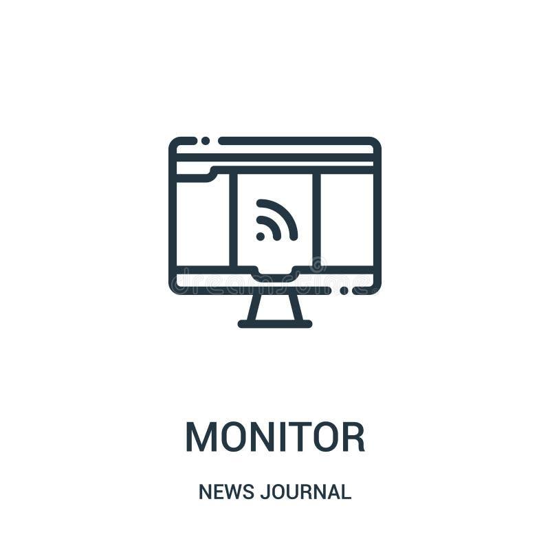 monitor ikony wektor od wiadomości czasopisma kolekcji Cienieje kreskowego monitoru konturu ikony wektoru ilustrację Liniowy symb ilustracja wektor