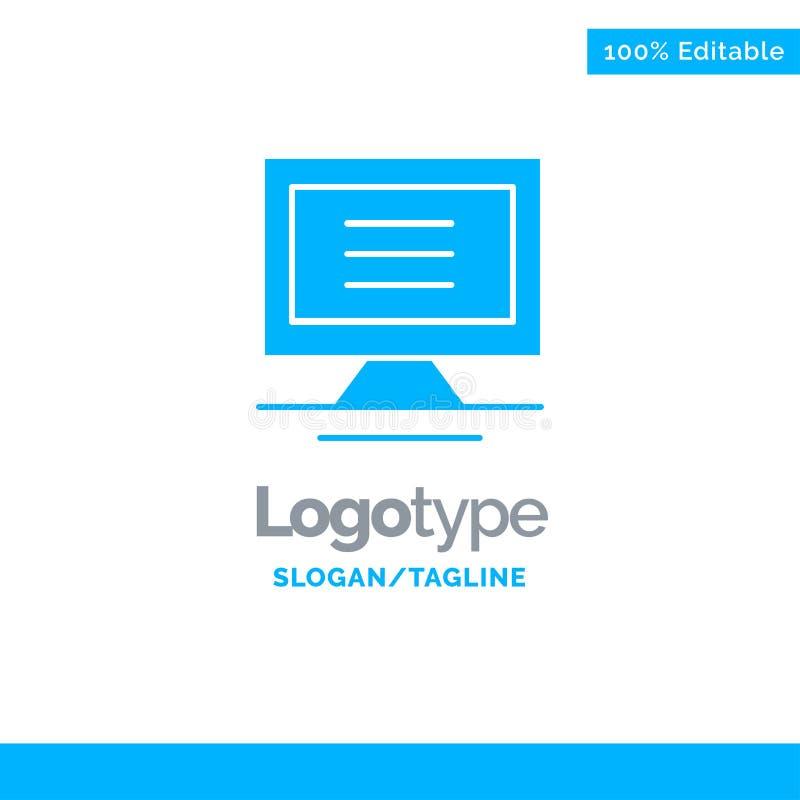 Monitor, komputer, narzędzia logo Błękitny Stały szablon Miejsce dla Tagline ilustracji