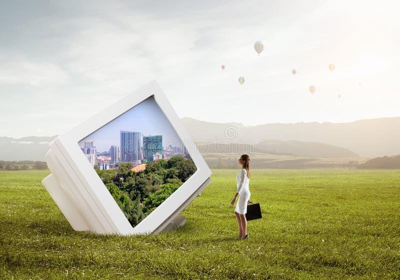 monitor komputerowy stary Mieszani środki fotografia royalty free