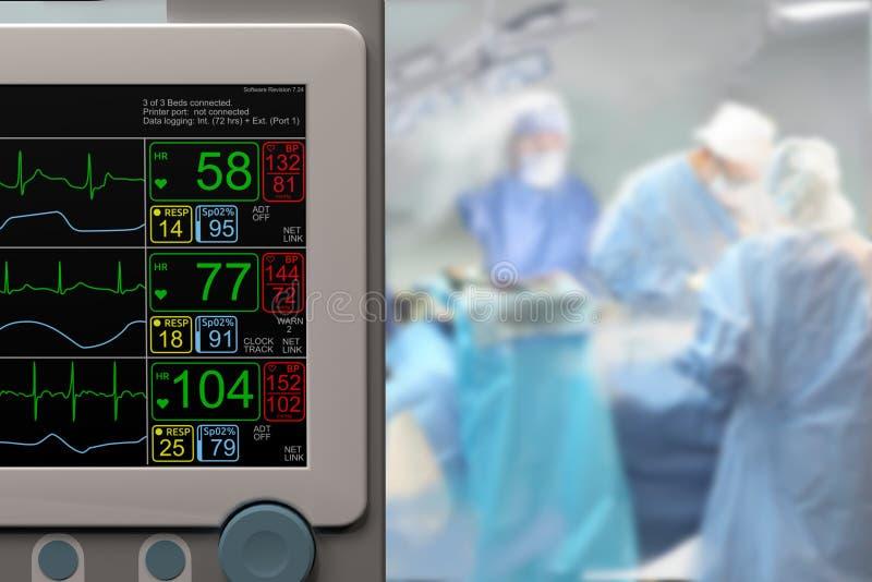 Monitor LCD de la Unidad de Cuidados Intensivos ICU y cirugía en curso fotografía de archivo libre de regalías