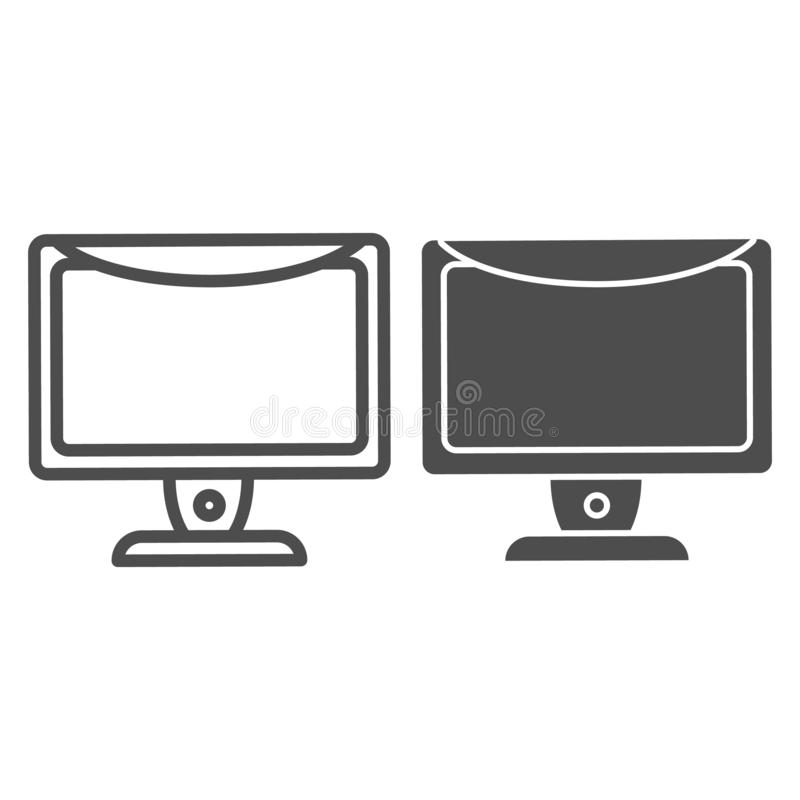 Monitor line and glyph icon. Computer screen vector illustration isolated on white. Desktop outline style design. Designed for web and app. Eps 10 vector illustration