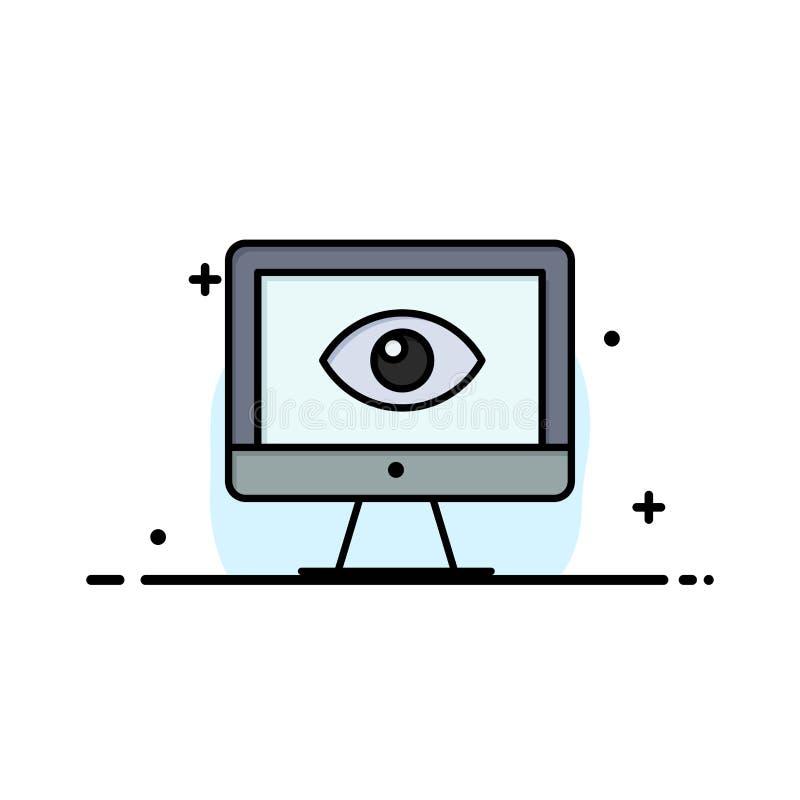 Monitor, on-line, Privatleben, Überwachung, Video, Uhr-Geschäft Logo Template flache Farbe stock abbildung