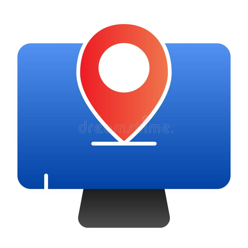 Monitor location flat icon. Computer with map pin color icons in trendy flat style. Screen with pin gradient style vector illustration